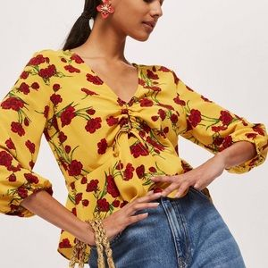 Topshop yellow floral print ruched keyhole blouse